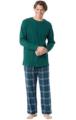 PajamaGram Mens Flannel Pajamas Sets - Plaid Flannel Mens Pajamas, Green, XL