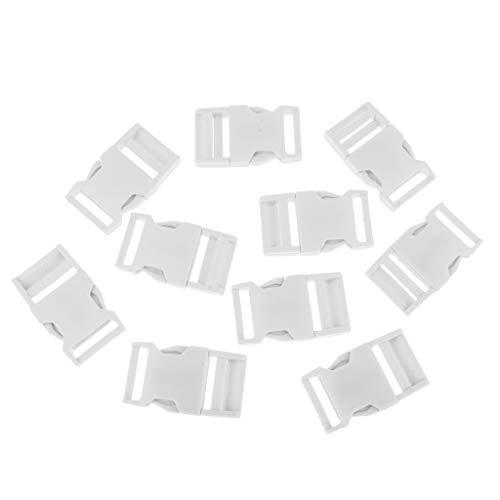 Baoblaze 10pcs Boucles Latérales en Plastique pour Sangle De Sac à Dos - Blanc, 5.8x3.3x0.8cm