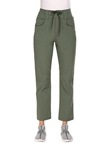 Zeagoo Women's Outdoor Sportwear Water-Resistant Quick Drying Lightweight Cargo Pants Grass Green