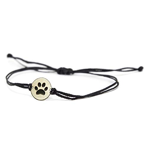 Paw Print Stainless Steel Dog Lover Charm on Double Black String Bracelet for Men & Women - Dog Mom Gift, Loss of Dog Gift, Dog Lover Gifts for Women & Men - Waterproof, Hypoallergenic Jewelry