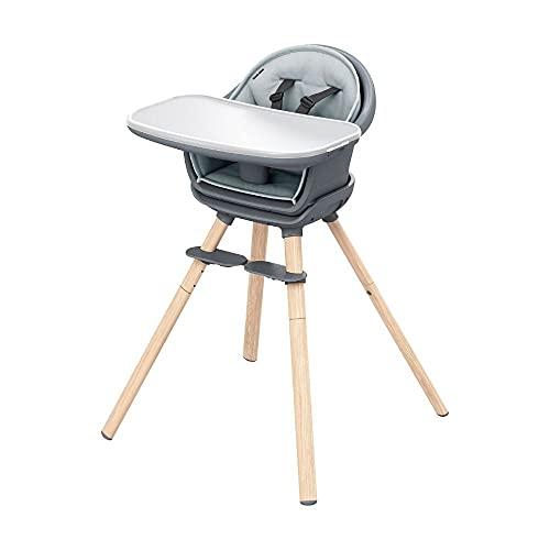Maxi-Cosi Moa 8-in-1-Hochstuhl, Verstellbarer Kinderhochstuhl, Mitwachsender hochstuhl, Hochstuhl mit tisch, Ab ca. 6 Monaten bis zu 5 Jahren, 0-22 kg, Beyond Graphite (grau)