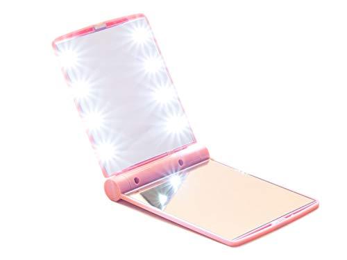 Taschenspiegel klappbar mit LED Beleuchtung pink - Beidseitiger Handspiegel ideal für unterwegs, Kompaktspiegel mit hellen blendfreiem Licht, Spiegel für tägliche Kosmetikpflege