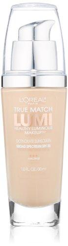 L'Oréal Paris True Match Lumi Healthy Luminous Makeup, N1-2 Soft Ivory/Classic Ivory, 1 fl. oz.