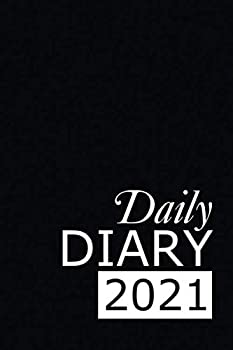 Paperback Daily Diary 2021: Black 365, One Page per Day, Tabbed Journal, January - December | 6 X 9 Inches (2021 Clark Diaries & Journals) [Large Print] Book