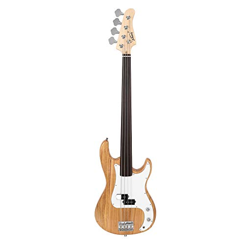 BELUPAI Fretless Electric Bass Guitar Full Size 4 String for experienced Bass Players Cord Wrench Tool Burlywood