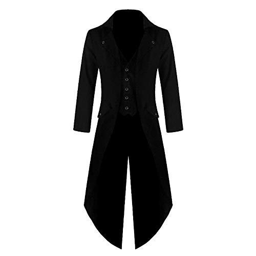 Cysincos Herren Vintage Jacke Langer Mantel Frack Steampunk Gothic Männer Smoking Jacke Uniform Anzug Lang Viktorianischen Fasching Karneval Cosplay Kostüm