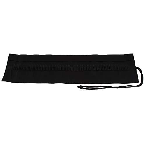 Cepillo de Pintura Bolsa de Lapices Bolsita de Lona Rollo de Almacenamiento Plegable para Viaje Portátil,Negro Clásico - 850x195x3mm