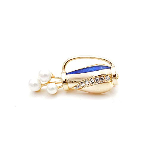 Brooches Vase Brooch Pearl Pins Women and Men Brooches Enamel Jewelry Summer Suit Dress Accessories Good Gift Gold