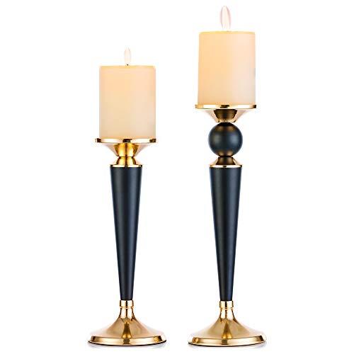 Candeliere a Colonna in Metallo Set Di 2, Portacandele Centrotavola Per Matrimoni Ideale Per Candele...