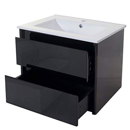 Mendler Waschbecken + Unterschrank HWC-B19, Waschbecken Waschtisch Badezimmer, Hochglanz 50x60cm ~ schwarz