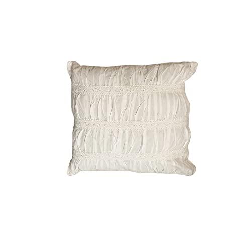 Chic Antique Cojín decorativo cuadrado de algodón blanco con drapeado, 45 x 45...