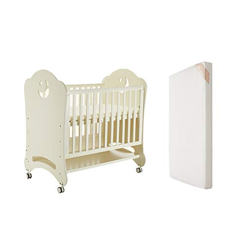 Houten Kinderbedje Multifunctionele Europese Crib Convertible Aan 3 posities ledikant Stiksel Bed Game Bed kinderbed Met Rol slaapbank Variable Desk (met matras)