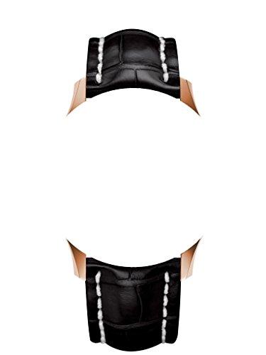 22/20 mm Leder Riemen Schwarz/Beige Silber Verschluss, um zu Breitling Uhren