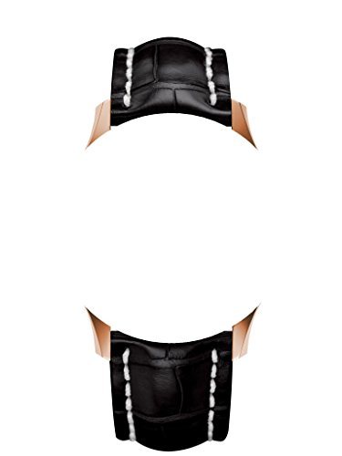 22/20 mm orologio cinghie di cuoio nero/beige argento chiusura a Fit...