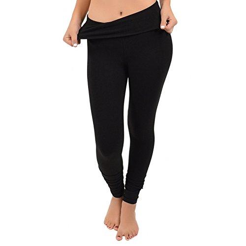 Stretch is Comfort Women's Foldover Full Length Cotton Leggings Black