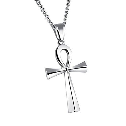 HIJONES Herren Edelstahl Einfache Vintage Ägyptische Ankh Kreuz Anhänger Halskette Silber