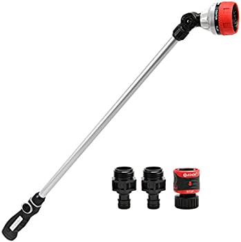 Eden 94609 7-Pattern Metal Garden Hose Watering Wand W/Quick Connect Starter Set 33 inch Thumb Control