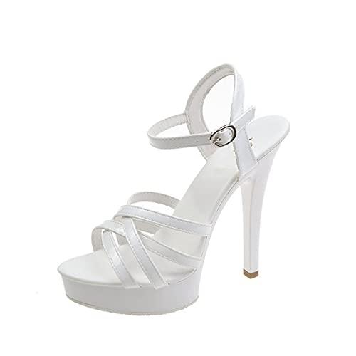 WLQWER De Mujer Correa en el Tobillo Tacón Alto Sandalias con Plataforma Zapato Abierto por Delante Zapatos de salón Fiesta de Boda,Blanco,37