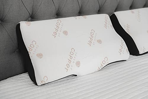 TravelEase Contour Memory Foam Pillow, Bedding Hypoallergenic Bamboo Charcoal Neck Pillow Orthopedic Butterfly-Wings Shape Cervical Pillow for Neck Pain Relief, Side Sleepers and Back Sleepers