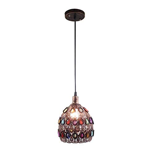 Mopoq Glas Retro Gotik-Anhänger Decken-Lampe, E14 Single Head Deckenpendelleuchte, Metall Creativ...