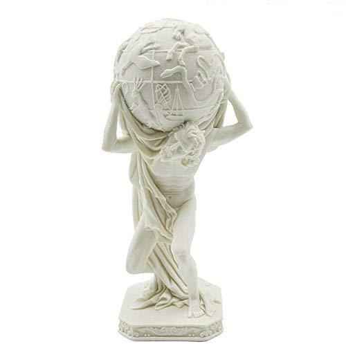 POETRY Statue de personnage Blanc en grès européen Classique Sculpture d'art de l'atlas grec Sculpture en résine Artisanat Accessoires de décoration de la Maison R4014 Animaux (Couleur: Blanc)