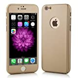 iPhone7 Case Ultra-thin Full Body Coverage Hard Hybrid Plastic with (Tempered Glass Screen Protector) Protective Case Cover & Skin for Apple iPhone7 4.7'' (Gold)