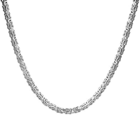trendor Necklace for Men 925 Sterling Silver Byzantine 4.7 mm Modern Real Sterling-Silver Jewellery for Men, Perfect Gift Idea, elegant Necklace-Chain 86113