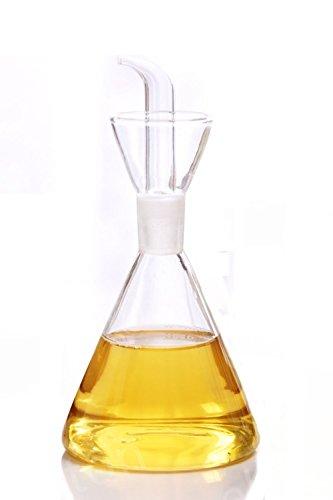 ELETON Olive Oil Dispenser Oil Bottle Glass with No Drip Bottle Spout - Oil Pourer Dispensing Bottles for Kitchen - Olive Oil Glass Dispenser to Control Cooking Vegetable Oil and Vinegar(12 oz)