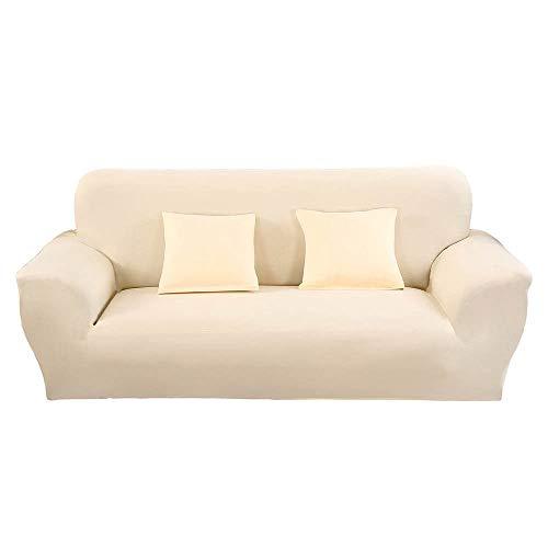 Elastisch Sofa Überwürfe Sofabezug Einfarbig, Morbuy Ecksofa L Form Stretch Antirutsch Armlehnen Sofahusse Sofa Abdeckung Hussen für Sofa Couchbezug Sesselbezug (3 Sitzer,Beige)