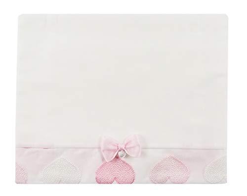 NINNAOH Juego completo de sábanas con diseño de cochecito de bebé, de algodón, color blanco, con corazones recién nacidos, E21LE7