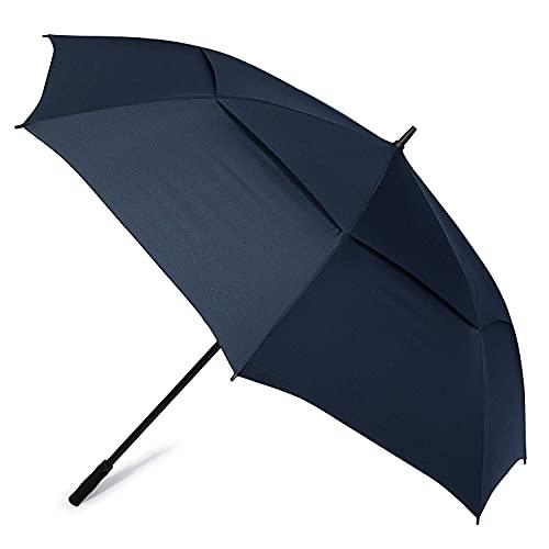 Paraguas de golf de 72 pulgadas, abierto, automático, grande, doble toldo, con ventilación, cortavientos, al aire libre, sombrillas familiares YXF99 (color azul)