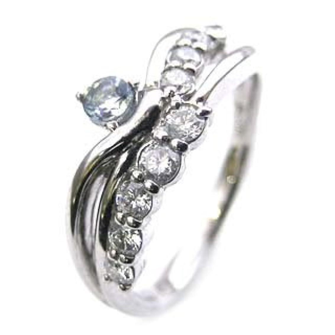 すき親指兵隊( 婚約指輪 ) ダイヤモンド プラチナエンゲージリング( 3月誕生石 ) アクアマリン #7