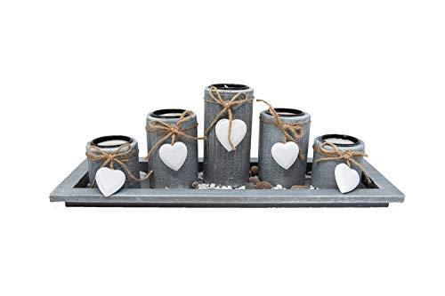 Portavelas decorativo con forma de corazón, bandeja decorativa con 5 velas de té, juego de portavelas, decoración de mesa, salón, 38 cm