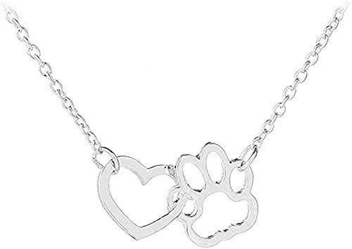 NC110 Collar Hueco Collar con Estampado de Pata de Mascota Collares Animal Lindo Perro Gato Amor corazón Colgante Collar para Mujeres niñas Collar de joyería