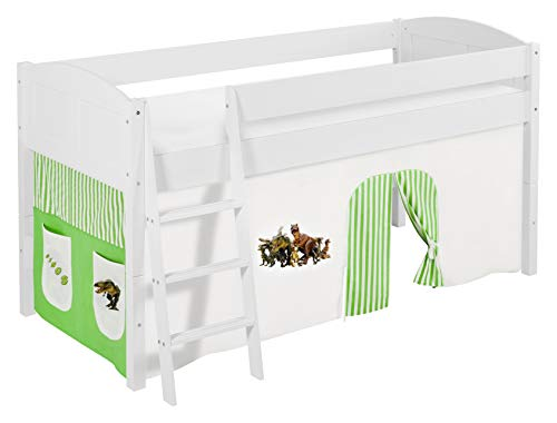 Lilokids Spielbett IDA 4106 Dinos Grün Beige - Teilbares Systemhochbett weiß - mit Vorhang