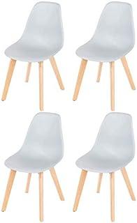 1234 Juego de 4 sillas de comedor con asientos de plástico y patas de madera de haya, sillas retro para comedor, salón, dormitorio, cocina (gris)