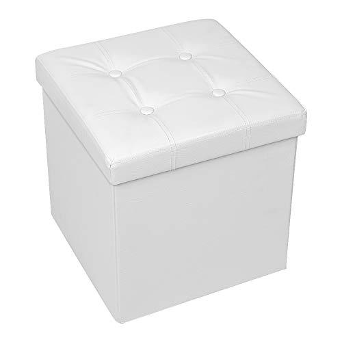"""Amoiu 38 cm Sitzhocker Ottoman Cube Sitzbank Sitzbox Aufbewahrungsbox,Kunstleder 15"""" x 15"""", Weiß"""