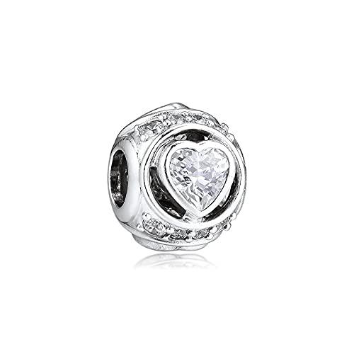 LIIHVYI Charms Pandora da Donna Argento Sterling 925 Beads Gioielli di Cristallo A Cuore Elevato Compatibile con Braccialetti E Collane