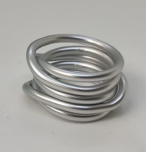Anello artigianale,in alluminio anodizzato,pezzo unico!Modello Nodo Lunare Argento Opaco.