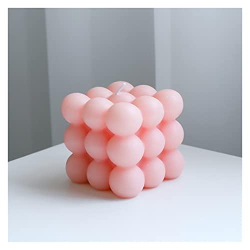 L1YAFYA 1 Pieza Geometría Bubble Cube Vela Cera de Soja Pequeñas Velas de aromaterapia con perfumado Relajante EN S Decoración de guardería de Estilo (Color : Pink)