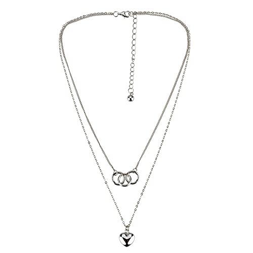 Collar de cadena de oro de plata 925 Gargantilla con tres ruedas Cadena doble redonda Rock Punk Collar de lujo Joyería de mujer-Gargantilla de plata