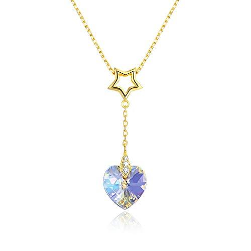 Daesar Colgante Plata/Oro Colgantes de Mujer Plata de Ley Estrella Hueca con Corazón Cristal Azul/Blanca