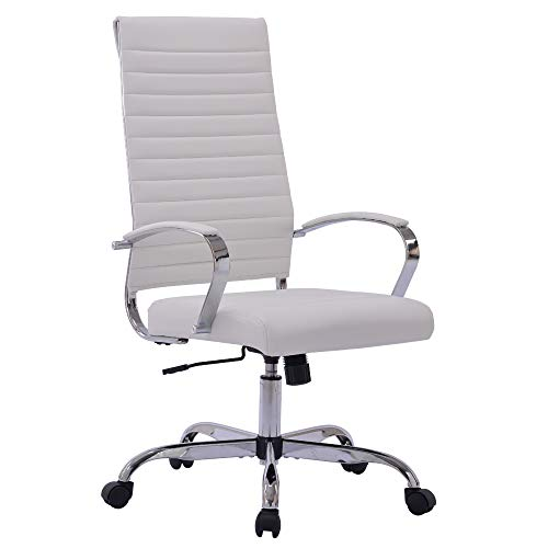 Sidanli White Computer Chair, Modern Desk Chair Conference Chairs with Faux Leather