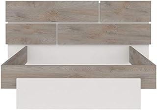 Tousmesmeubles Cadre + Tête de lit 180 * 200 Chêne délavé/Blanc Mat - Florine - L 220 x l 208 x H 40/102 - Neuf