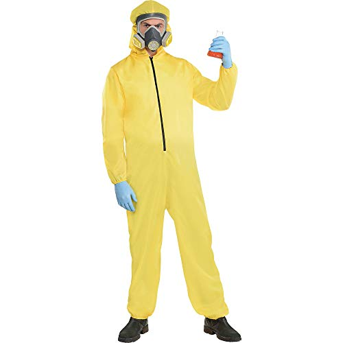 Party City Hazmat Suit Halloween Costume for Men, Standard Size, Includes Jumper and Mask