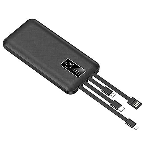 Power Bank, Cable Negro Incorporado Cargador Portátil De 20000 MAh con 4 Cables Incorporados Desmontables Carga Rápida Batería Externa De Alta Capacidad Compatible con Todos Los Teléfonos Móviles