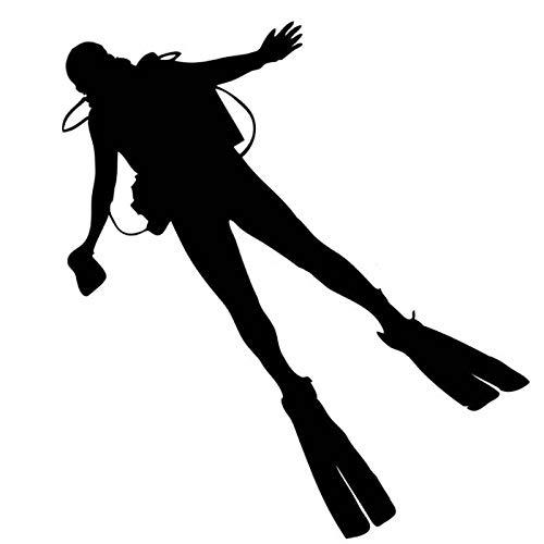 WZHLI Pegatinas Coche Familia 13.5 X 15 cm Buceo de Buceo Etiqueta engomada del Coche Calcomanía reflexiva Diversión Motocicleta Pegatinas de Cuerpo Decorativo Negro/Plata Pegatinas de Coche