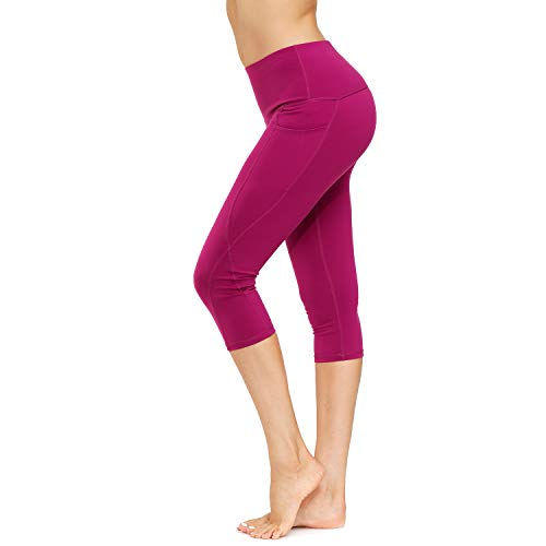 HMIYA Sporthose Damen, Sport Leggings Blickdicht Fitnesshose Tights Yoga Hose mit Taschen(3/4 Dunkelviolett,M)