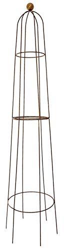 Ruddings Wood Extra Large 210cm high Natural Rust Ball Obelisk - Garden Flower Support - Climbing Plant Steel Frame