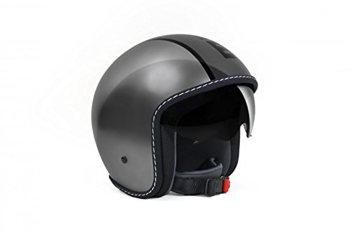 MOMO Design Momodesign casco jet Blade, gris metal antracita Logo, Talla L, negro